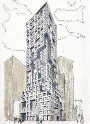 A sketch of 126 East 57th Street (ODA Architecture)