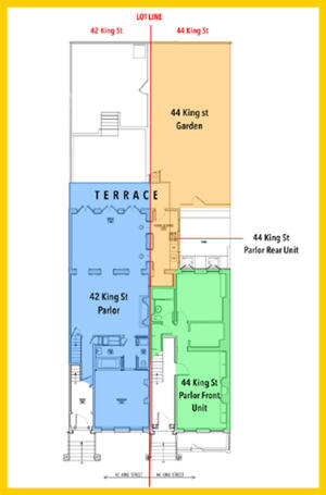 Floor plans of 42 and 44 King Street