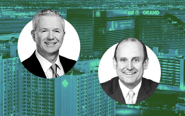 MGM Growth Properties CEO James Stewart and Vici CEO Edward Pitoniak (MGM, Vici)