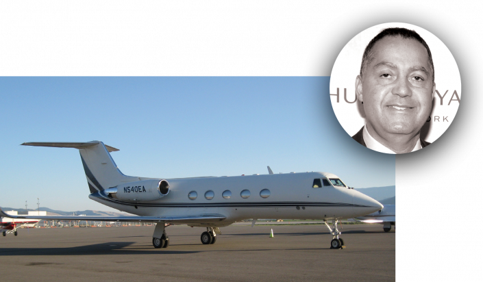 Don Peebles and a Gulfstream IIB (Getty Images)