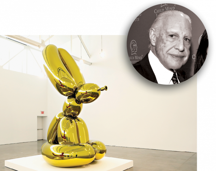 """Edward Minskoff and a """"Balloon Rabbit"""" by Jeff Koons (Getty Images)"""