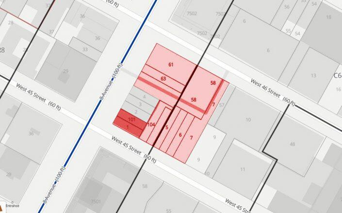 Extell's owned lots at Eighth Avenue and West 46th Street, highlighted in red