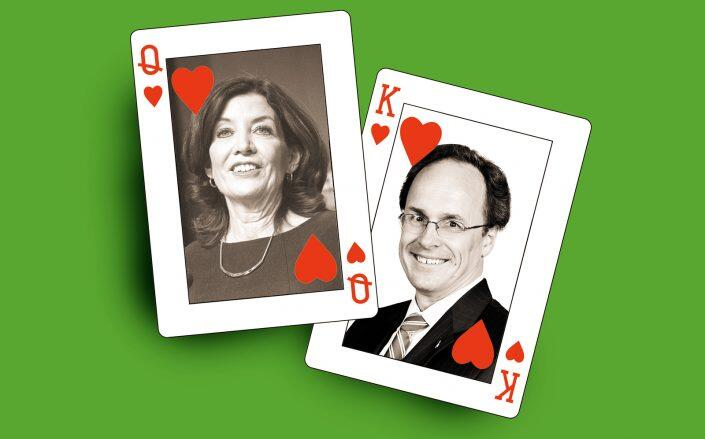 Kathy Hochul and William Hochul (Getty, Department of Justice/Wikimedia, iStock)