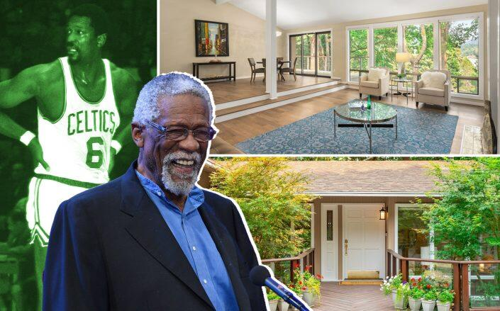 Bill Russell and the Mercer Island home (Getty, Redfin)