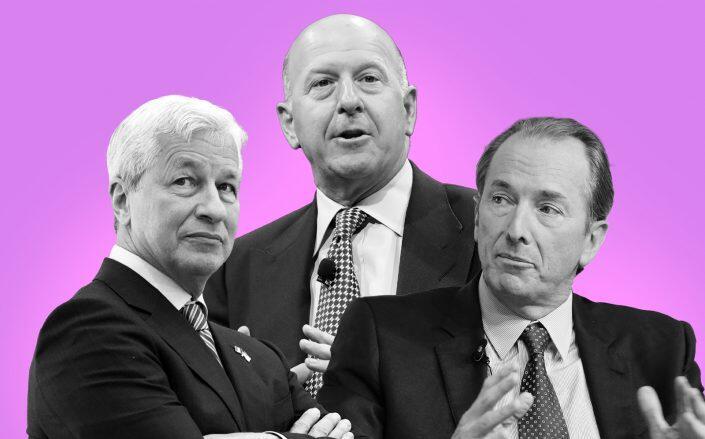 From left: JPMorganChase CEO Jamie Dimon, Goldman Sachs CEO David Solomon and Morgan Stanley CEO James Gorman (Getty)