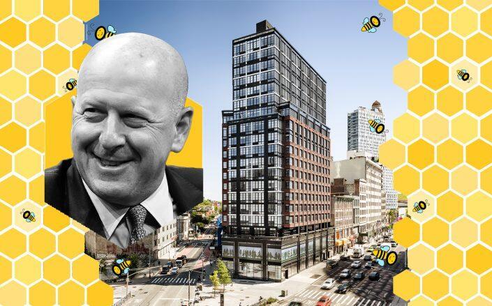 Goldman Sachs CEO David Solomon and 1 Flatbush Avenue in Brooklyn (Getty, Hillwest, iStock)