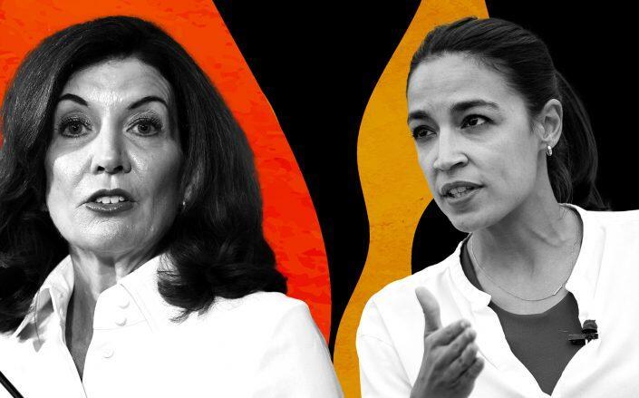 Gov. Kathy Hochul and Rep. Alexandria Ocasio-Cortez (Getty)