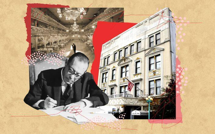 The Grand Prospect Hall at 263 Prospect Avenue with former Mayor Robert Wagner (Getty, Jim.henderson/Wikimedia, NYPAP/Illustration by Kevin Rebong for The Real Deal)