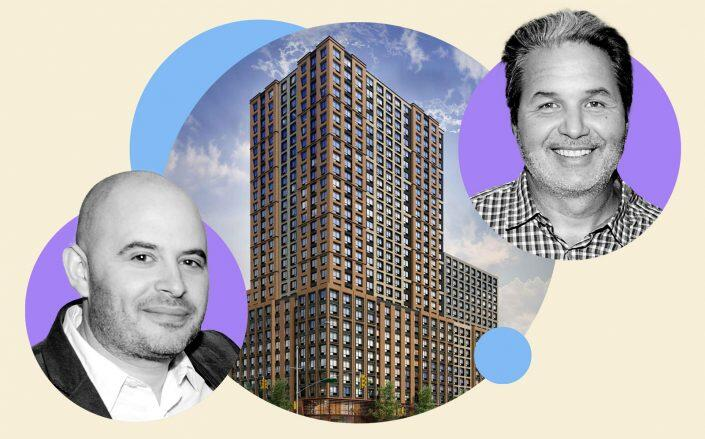 Joy Construction principal Eli Weiss, 375 West 207th Street in Inwood and Maddd Equities CEO Jorge Madruga (Getty, Maddd Equities)