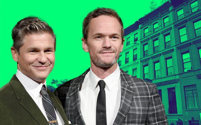 Neil Patrick Harris (right) and David Burtka with 2036 Fifth Avenue (Getty, Google Maps)