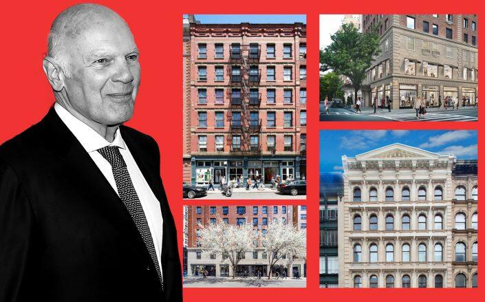 Vornado's Steve Roth with (clockwise from top left) 155 Spring Street, 828 – 850 Madison Avenue, 478-482 Broadway and 759 – 771 Madison Avenue (VNO, Getty)