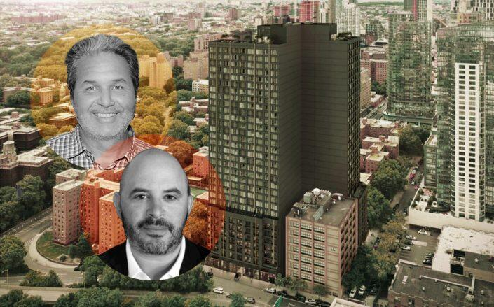 Maddd Equities's Jorge Madruga and Joy Construction's Eli Weiss with renderings of the project (Aufgang Architects, Getty, LinkedIn via Weiss)