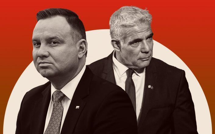 Polish President Andrzej Duda and Israeli Foreign Minister Yair Lapid (Getty)