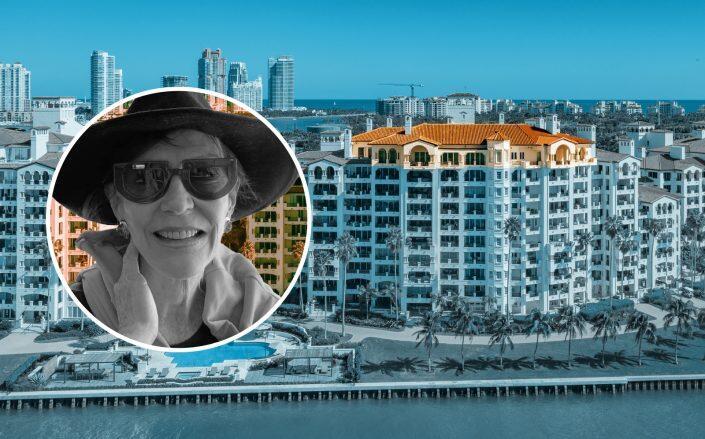 Janice Wackenhut and the Fisher Island property (Facebook via Wackenhut, Pablo Alfaro Group)