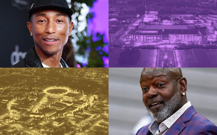 Pharrell Williams, Emmitt Smith and a rendering of two proposals of Military Circle Mall (Getty, Norfolk Development)