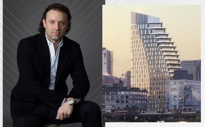 Fortis CEO Jonathan Landau and a rendering of Olympia Dumbo at 30 Front Street (Hill West Architects, Fortis Property Group)
