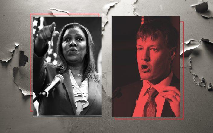 Attorney General Letitia James and A&E Real Estate CEO James Patchett (Getty, iStock)