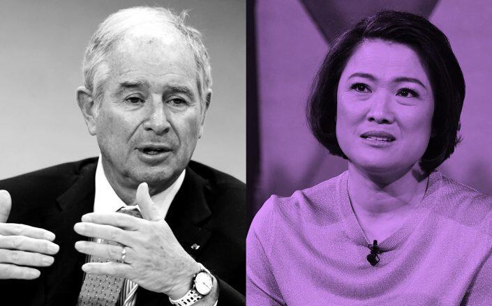 Blackstone CEO Stephen Schwarzman and Soho China CEO Zhang Xin (Getty)