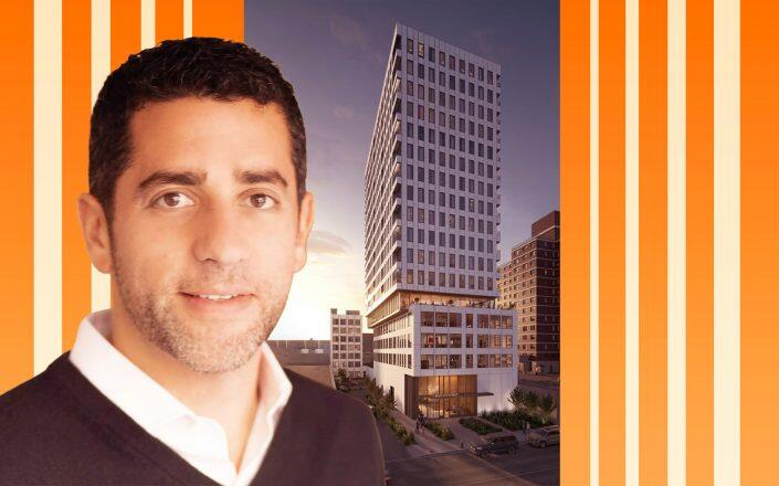 Martin Nussbaum, Co-Founder and Principal of Slate Property Group and a rendering of 26-25 Fourth Street (Slate, Rendering via J Frankl Associates)