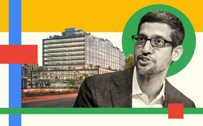 A rendering of St. John's Terminal with Google CEO Sundar Pichai (COOKFOX Architects, Getty)