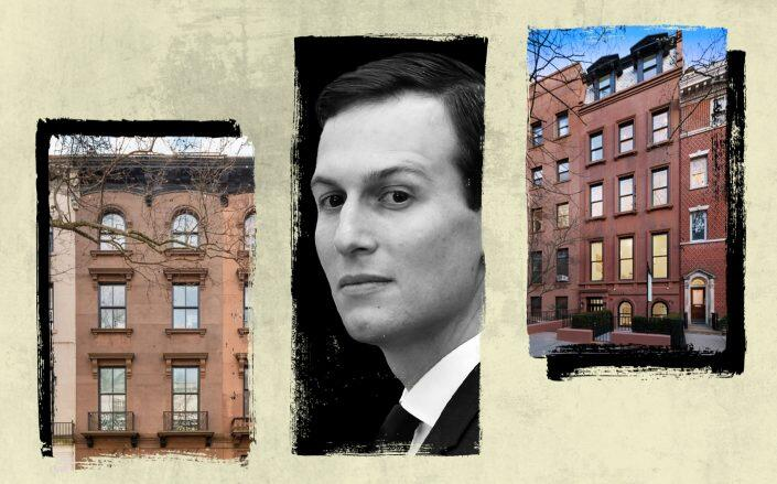 Jared Kushner with 100 Pierrepont Street (left) and 38 Monroe Place (Getty, StreetEasy, Leslie Garfield)