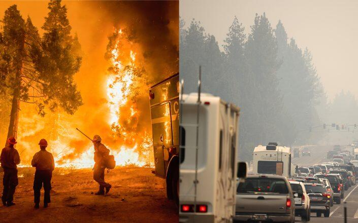 Communities to the south and southeast of Lake Tahoe's shores are under mandatory evacuation as the massive Caldor Fire creeps northwest. (Getty)