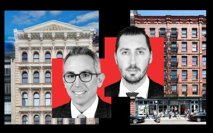 478-482 Broadway and 155 Spring Street with KPG Funds founders Gregory Kraut and Rod Kritsberg (VNO, KPG)