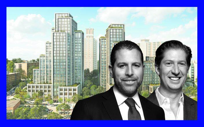 A rendering of River in Staten Island North with Madison Realty Capital co-founders Josh Zegen or Brian Shatz (FXCollaborative, Madison Realty Capital)