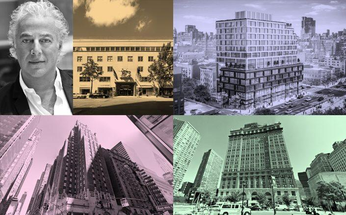 Clockwsie from top left: Aby Rosen with 980 Madison Avenue, 258-278 Eighth Avenue, 1 West Street and 511 Lexington Avenue (RFR, JJ Operating, Google Maps)