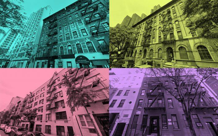 Clockwise from top left: 305 East 75th Street, 309 East 91st Street, 327 East 75th Street and 418 East 77th Street (Google Maps)