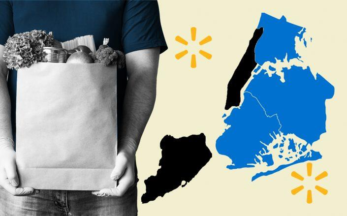 Walmart's groceries became available to parts of Brooklyn, Queens and the Bronx on Tuesday night (iStock, Walmart)