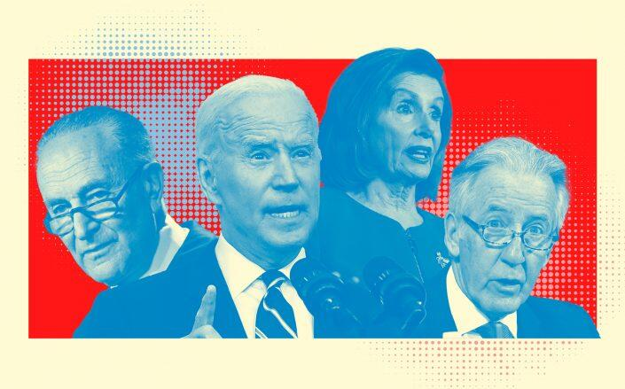 Sen. Chuck Schumer, President Joe Biden, Congresswoman Nancy Pelosi and House Ways and Means Chairman Richard Neal (Getty/Illustration by Kevin Rebong for The Real Deal)