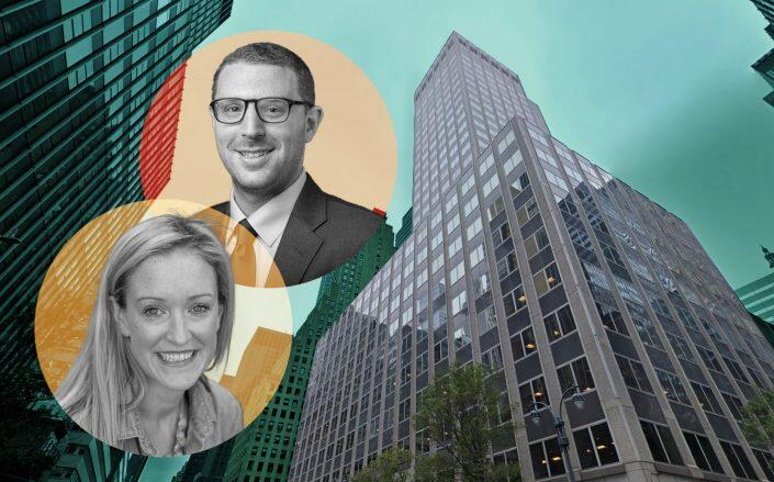 Brian Wallick, director of New York office investments at Nuveen Real Estate and Jessica Bailey of Greenworks Lending with 730 Third Ave (Nuveen, Google Maps)