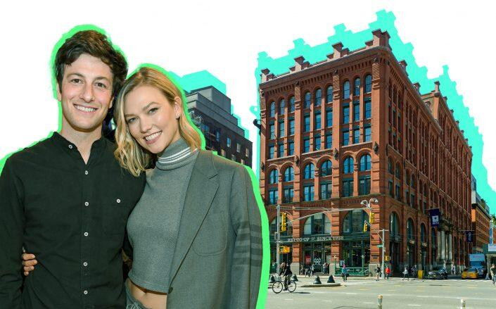 Joshua Kushner and Karlie Kloss, with the Puck Building at 295 Lafayette Street (Photos via Getty, Ceros)