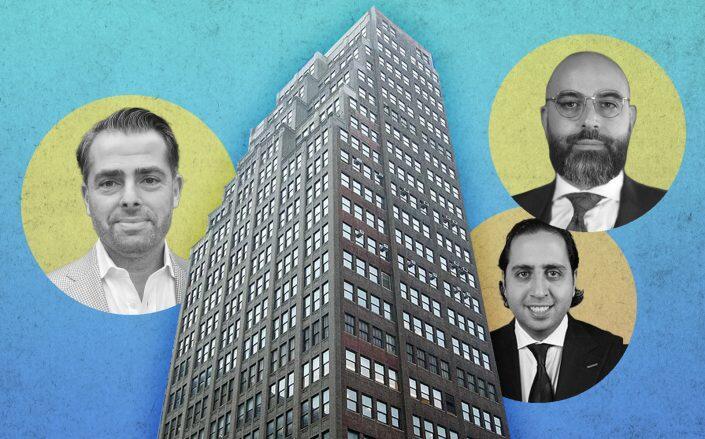 "Igal Namdar of Namdar, Arash ""Josh"" Rahmani and Ebi Khalili of Empire Capital Partners with 345 Seventh Ave (Bernstein Real Estate, Namdar, Empire)"