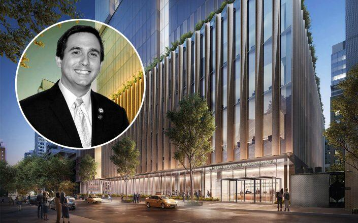 Council member Ben Kallos and renderings of the 67th street building (Getty, DBOX)