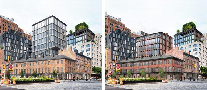 The previous (left) and current proposal at 44-54 Ninth Avenue and 351-355 West 14th Street (Renderings via BKSK)
